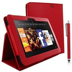 NEU! KOLAY® Kindle Fire HD Leder Etui Case Schutzhülle in Rot mit Standfunktion + Stylus (Eingabestift) & Displayschutzfolie mit Anleitung (Nur für Kindle Fire HD geeignet)