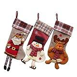 3 x Calcetin de Decoraciones de Navidad Santa Claus, Muñeco de Nieve, Medias de Decoración de Navidad, Bolasa de Caramelo y Regalo (Estilo 1)