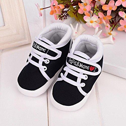 Ouneed® Krabbelschuhe , 0-18 Monate Baby Kind Kind Jungen Mädchen weich Sohle Segeltuch Turnschuh Kleinkind Schuhe Schwarz