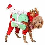 Tinksky Hundemantel, ein Weihnachtsmannkostüm mit Rentiergeweih für ihren Hund oder ihre Katze, Stoff, siehe abbildung, M