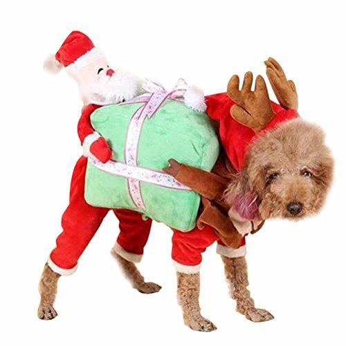 Tinksky Haustier Kostüme Hundekostüm für Weihnachten Party Weihnachtsmann Hund Lustige Welpen Kleidung Weihnachtsgeschenk Größe (Hunde Kostüme Weihnachten)