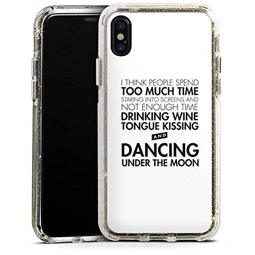Apple iPhone 8 Bumper Hülle Bumper Case Glitzer Hülle Love Amour Liebe Bumper Case Glitzer gold