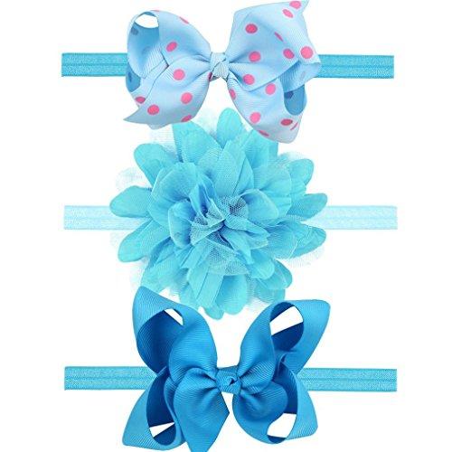 3 PCS Stirnbänder Transer® Baby Mädchen Stirnband Handgemachte Halten Kopf Zubehör Tuch Elastisches Haarband Größe: Fit für 0-3 Jahre Baby (Blau)