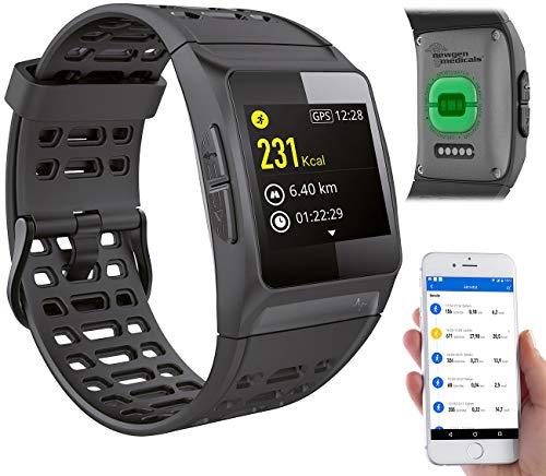 newgen medicals Smartwatch GPS Puls: GPS-Sportuhr, Bluetooth, Fitness, Puls, Nachrichten, Farbdisplay, IP68 (Fitnessarmband mit Herzfrequenz)