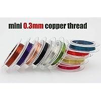 Tigofly - Hilo de cobre, 10rollos, 0,3 mm x 10 m, para hacer señuelos de pesca, como moscas o ninfas, colores aleatorios