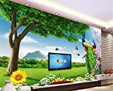 Wxlsl 3D Tapete Benutzerdefinierte Foto Vlies Mural Schmetterling Blumen Der Pfau Baum Malerei 3D Wandbilder Tapete-150Cmx105Cm