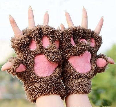 Outstanding® Nette Frauen-Mädchen-Katze-Tatzen-Greifer-Plüsch Fingerlose Finger-halbe Handschuhe Weiche Winter-Handschuhe von Outstanding - Outdoor Shop