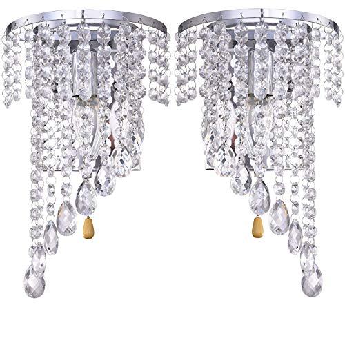 Junhong lighting una coppia e14 moderno k9 specchio di cristallo in acciaio inox applique da parete lampada da parete per corridoio scala pernottamento lampada apparecchi luce con interruttore (cromo)