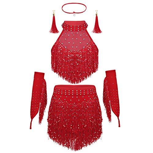YiZYiF Kinder Pailletten Bekleidungsset Neckholder Tanzkleider Latein Ärmellose Top Quasten Rock Ohrringe Tanzostüm Outfits für Bauchtanz Rumba Salsa Tango Rot ()