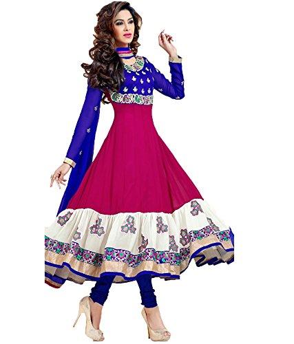 Fashion Dream Women\'s Georgette Dress (!!#Vamsi-1_Pink_Free Size)