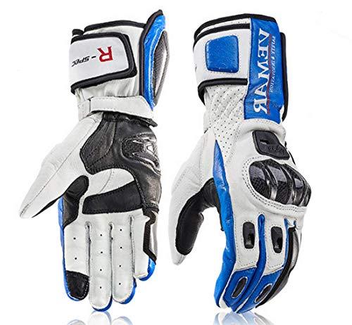 Vemar Guanti Moto Professionali in Pelle Motocross Racing Pista protezione Carbonio (L, Blu)