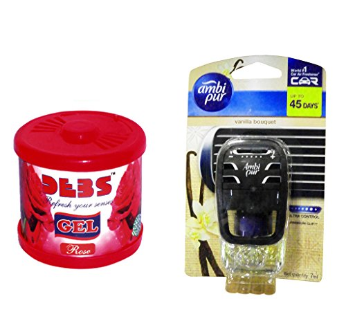 Debonair Combo - Debs 100gm Premium Car/Home/Office Air Freshener Gel - Rose& Ambi Pur Starter Kit 7. 5 ml - Vanilla Bouquet  available at amazon for Rs.418
