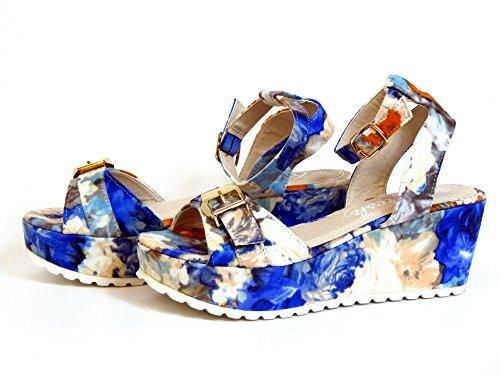 Refresh Damen Sandaletten blau-kombi (blau) 62057 AZULON Blau-Kombi