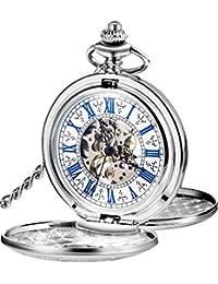 Reloj de Bolsillo Mecánico de Hombres de Esqueleto de Acero de Windup de Doble Capa de Esfera Romana Azul Steampunk (Plateado)