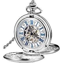 Reloj de Bolsillo Mecánico de Hombres de Esqueleto de Acero de Windup de Doble Capa de
