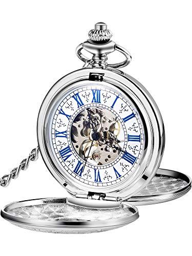 Reloj de Bolsillo Mecánico de Hombres de Esqueleto de Acero de Windup de Doble Capa de Esfera Romana...