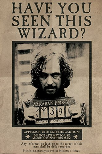 Harry Potter - Póster «Se busca a Sirius Black» («Wanted Sirius Black», tamaño grande, multicolor