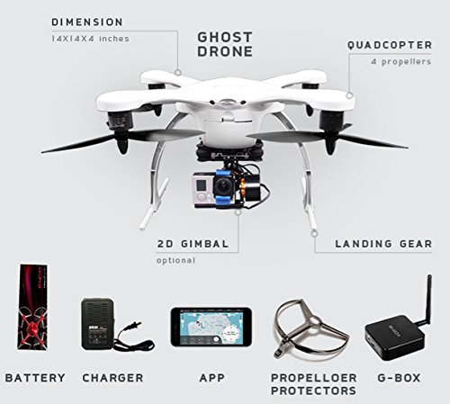 EHANG GHOST Drone Aerial Quadcopter (Android / Weiß) - Kompatibel mit GoPro Hero 2/3/3+/4 Kamera - 5