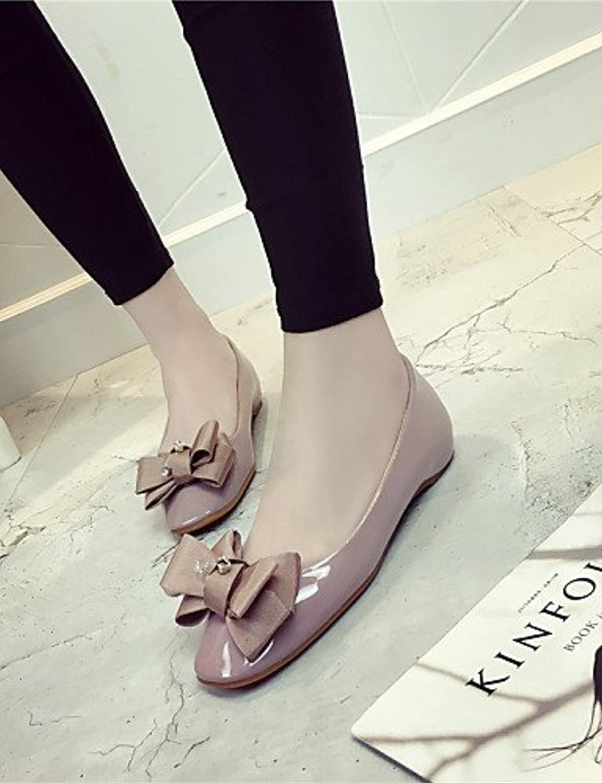 PDX/Damen Schuhe flach Ferse Ballerina/quadratisch/geschlossen Zehen Wohnungen Kleid Schwarz/Pink/Grau