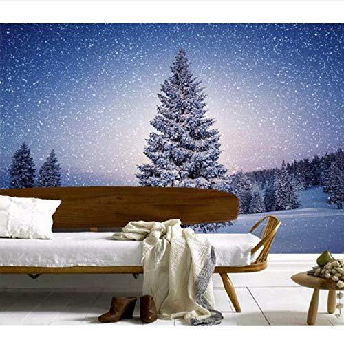 Pmhhc Benutzerdefinierte 3D Große Wandmalereien Schöne Winter Wälder WandbilderWohnzimmer Sofa Tv Wand 3D Wandbilder Wallpaper Für Den Hintergrund-350X245Cm