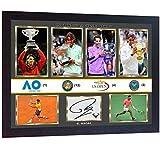 SGH SERVICES Neuf Poster Encadré Rafael Nadal Tennis Champion 2018Tennis Photo dédicacée Poster Pre-Print Impression Photo encadrée MDF Cadre Photo Print Mémorables