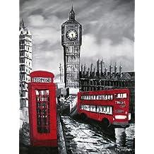 London autobús rojo, cabina telefónica y el Big Ben. Pintura al óleo pintada a mano sobre lienzo - Excelente calidad y la artesanía