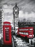 Old London roten Bus, Telefonzelle und Big Ben. Kunst Öl auf Leinwand Gemälde - Hervorragende Qualität und Handwerkskunst, handgefertigte Wandkunst