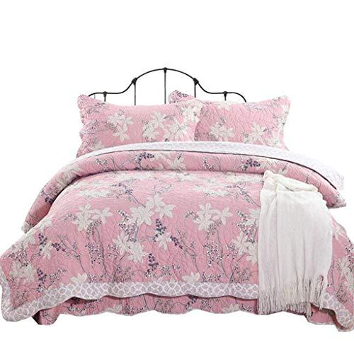 Flowing water 4-Piece Quilt Bedspread Cotton Patchwork Handmade Reversible Elegant Quilt Set Soft Bedspread Coverlet Set King
