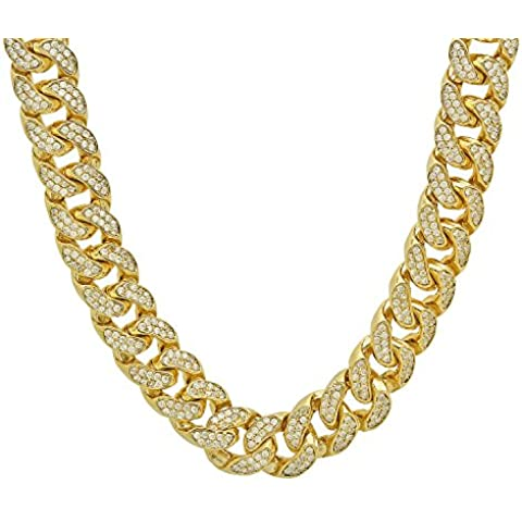 Iced Out placcato oro 15mm Curb cubano link collana w/Pave zirconi - Mens Miami Cubana Link Curb
