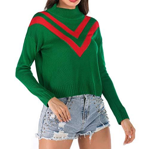 DOFENG Damen T Shirt Bluse Sweatshirt Damen Lange Ärmel Mode Locker Stricken Volltonfarbe Patchwork Lässig O Hals Kurz Pullover Oberteil Tops (Grün, Medium) -