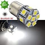 Ruiandsion 2 x 1156 LED Birne 5050 12 SMD Chipsets Weiß 6 V Ersatz Lampe für Rückfahrlicht Blinker Licht Rücklicht