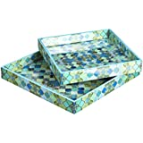 Designer MDF Wooden Serving Trays Set | Set Of 2 Trays | Blue Net Design With Special Enamel Coating - Multicolor