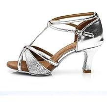 HROYL Zapatos de baile/Zapatos latinos de satín mujeres ES7-F55