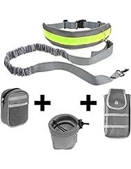 Ploopy 2 Colores Perro Manos Libres Caminando Cinturón bolsa de Cuerda Correa Ajustable, Correas para Perros para Correr / Trotar / Caminar al Aire Libre 3 Bolsas Gris