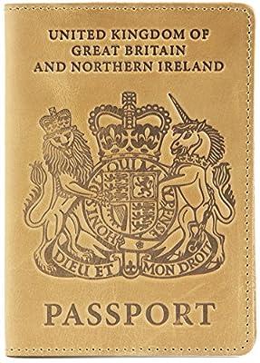 Shvigel Leather Passport Holder - for Men & Women - British Passport Cover Case