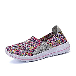 RDJM Les Femmes Mocassins Sneakers Knit Été Slip-On Chaussures Casual Mesh Walking Sneakers Taille 35-40,Gray,37