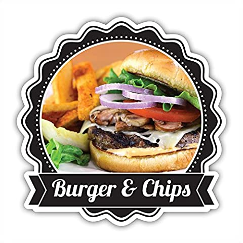 Burger and Chips Catering Sticker Restaurant Cafe Van. 35cm x 35cm. Decal Sticker Or Static Cling FREE UK POSTAGE by Wall Genie