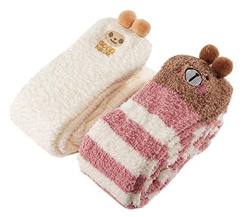 Littleforbig Cute Animal en polaire au niveau de la cuisse haute Long rayé 2paires de chaussettes