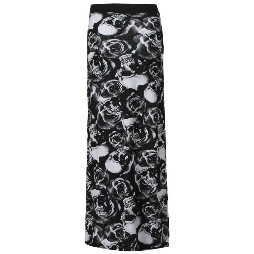 Flirty Wardrobe Jupe longue pour femme Noir imprimé Elasricated jupe + ceinture Taille 36–50 Blanc - Rose Skull Black