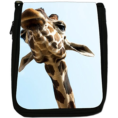 African giraffa Medium Nero Borsa In Tela, taglia M Giraffe Looking Up