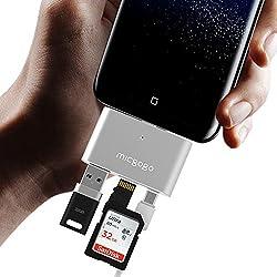 MICGOGO Adaptador OTG compacto Micro USB (C) macho a USB (A) hembra+lector tarjeta SD+puerto de carga microUSB