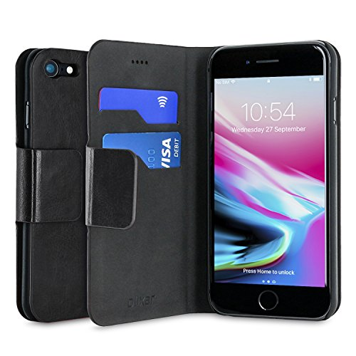 Olixar iPhone 7 Wallet Case PU Leather Style - Card Storage Slots and Built In Media Viewing Stand - Wireless Charging Compatible - Black -