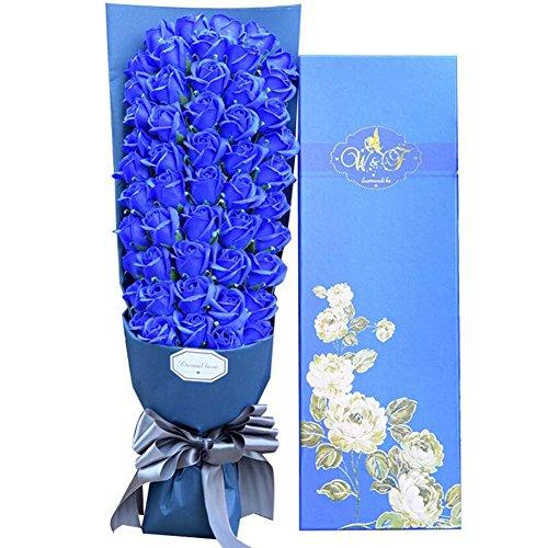 51 savon savon boîte cadeau artificielle rose romantique bouquet fleurs de mariage fiançailles bouquet cadeaux de mariage (Color : Blue)