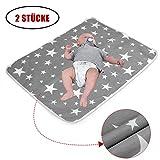 2 Stücke Wasserdicht Wickelunterlage Waschbar für Babys und Kleinkinder (L - 60 x 75 cm) - Atmungsaktiv, Wiederverwendbare Urin Matte Abdeckung
