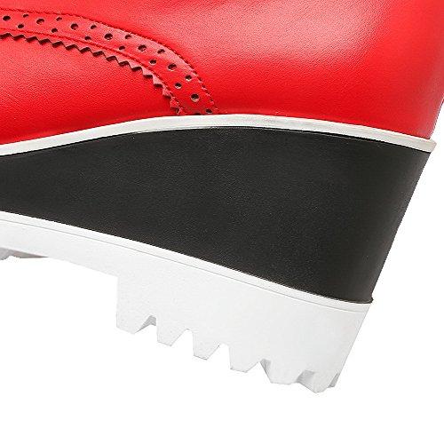 VogueZone009 Femme Rond Fermeture D'Orteil Lacet Pu Cuir Couleur Unie à Talon Haut Chaussures Légeres Beige
