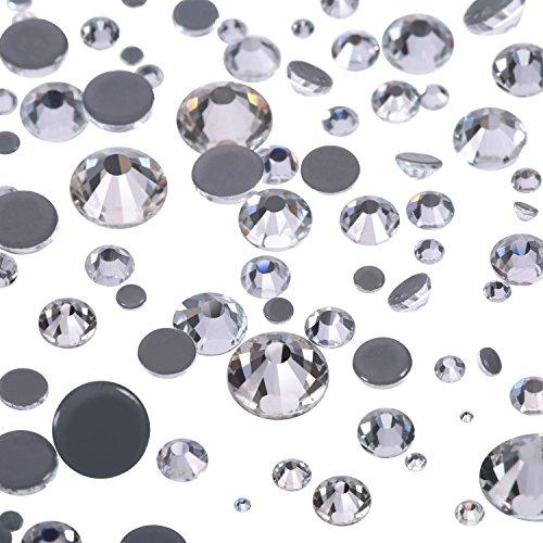 1000 Piezas de Cristales Redondos de Fijación Caliente de Tamaños Mezclados Gemas Piedras de Vidrio Diamantes de Espalda Plana 1,5-6 MM