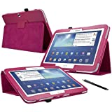 ENTITY®: Samsung Galaxy Tab 3 10.1 inch (GT-P5200/ P5210/ P5220) Leather Flip Safety Case Cover - HOT PINK. Executive Multi Function Stand Case with Built-in Magnet for Sleep / Wakeup Feature For the New Samsung Galaxy Tab 3 10.1 inch Tablet + Free Screen Protector + Free Stylus Pen (Available in Multiple Colours)
