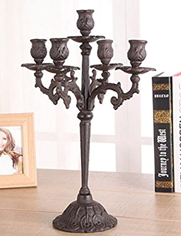 Candle holder/european retro candlestick/cast iron carved candlestick holder/home wedding candlestick furnishings-B