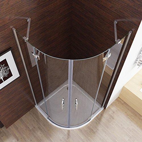 80 x 80 x 195 cm Duschkabine Runddusche Duschabtrennung Falttür Echtglas Viertelkreis mit Duschwanne Duschtasse