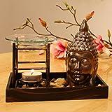 Duftlampe Buddha Aromalampe Orientalisch Duftöllampe Aromabrenner Duftstövchen mit Glas verdunsterschale (Nr. 1)